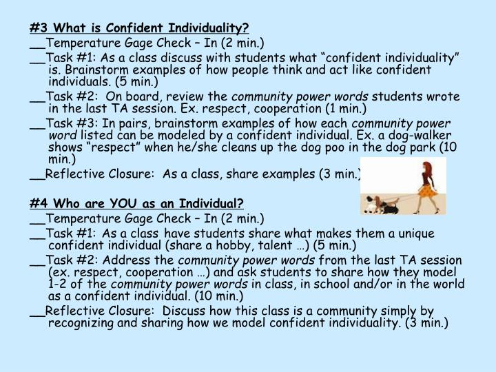 #3 What is Confident Individuality?