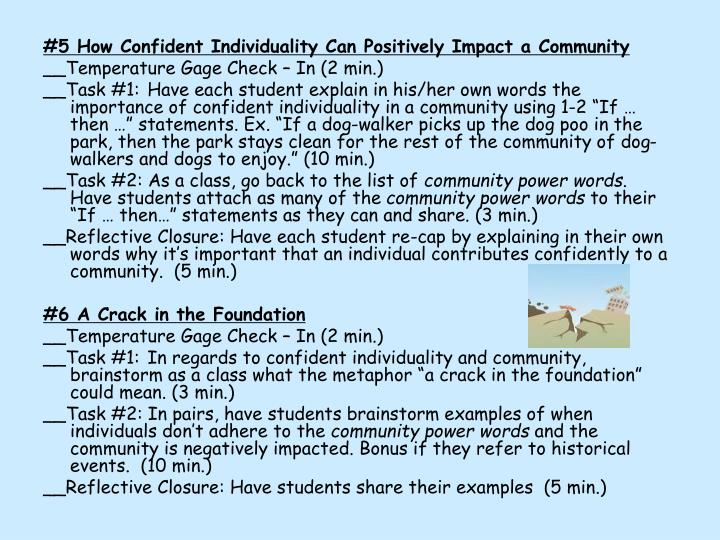 #5 How Confident Individuality Can Positively Impact a Community