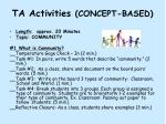 ta activities concept based