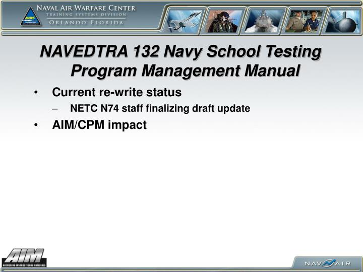NAVEDTRA 132 Navy School Testing Program Management Manual
