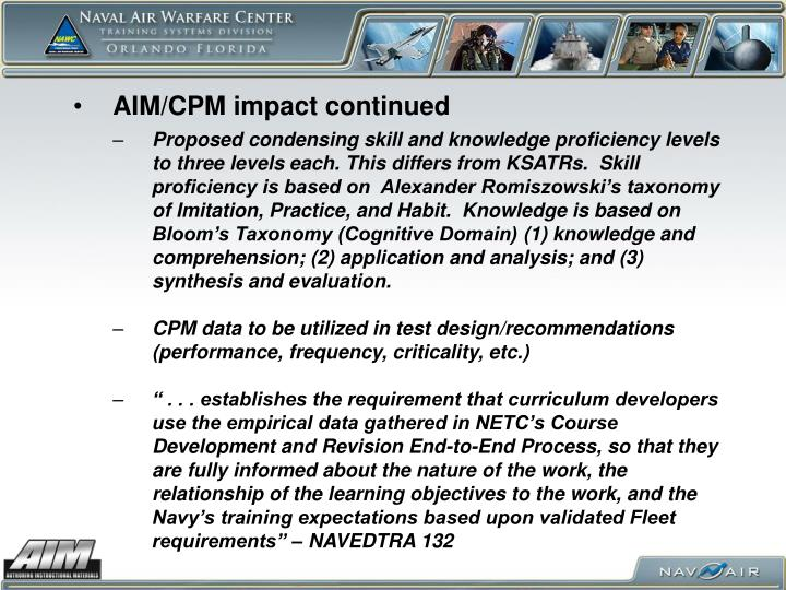 AIM/CPM impact continued