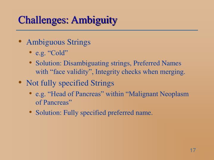 Challenges: Ambiguity