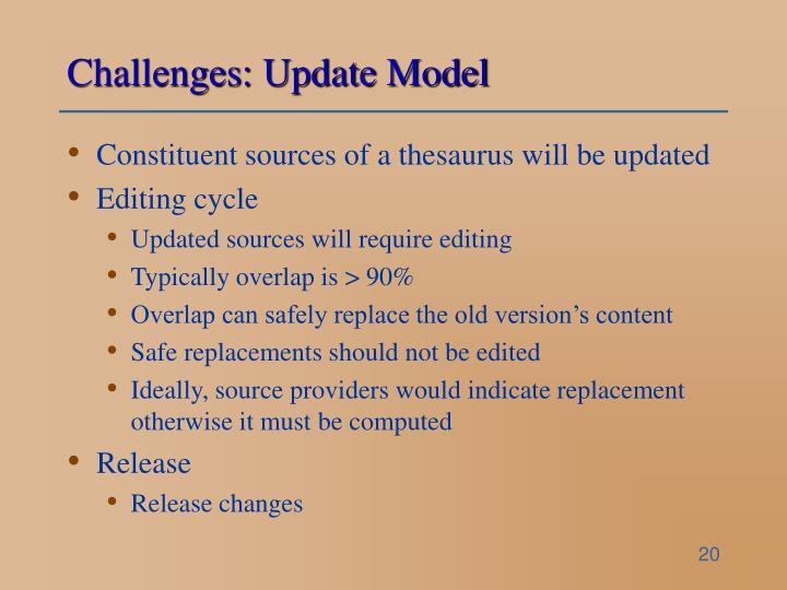 Challenges: Update Model