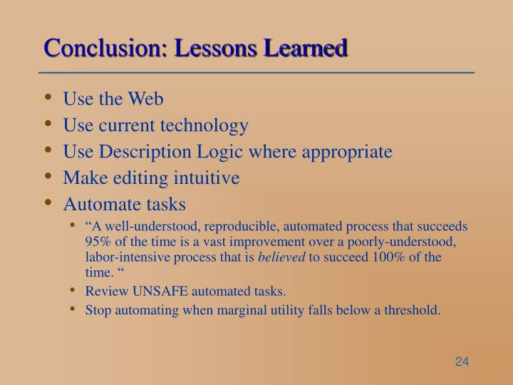 Conclusion: Lessons Learned