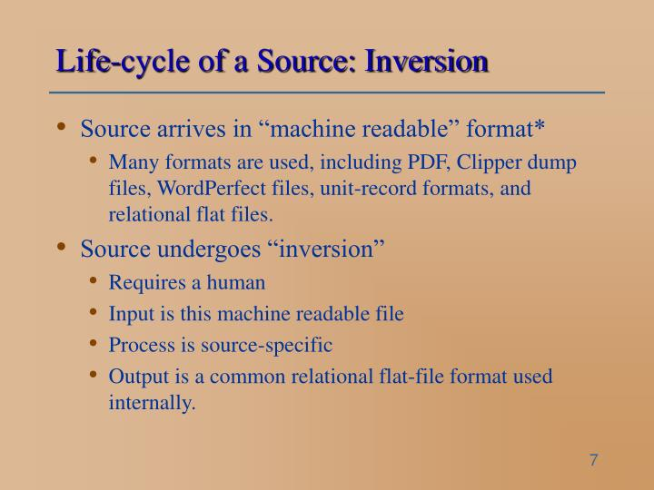 Life-cycle of a Source: Inversion