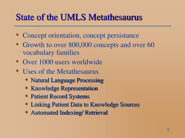 State of the umls metathesaurus