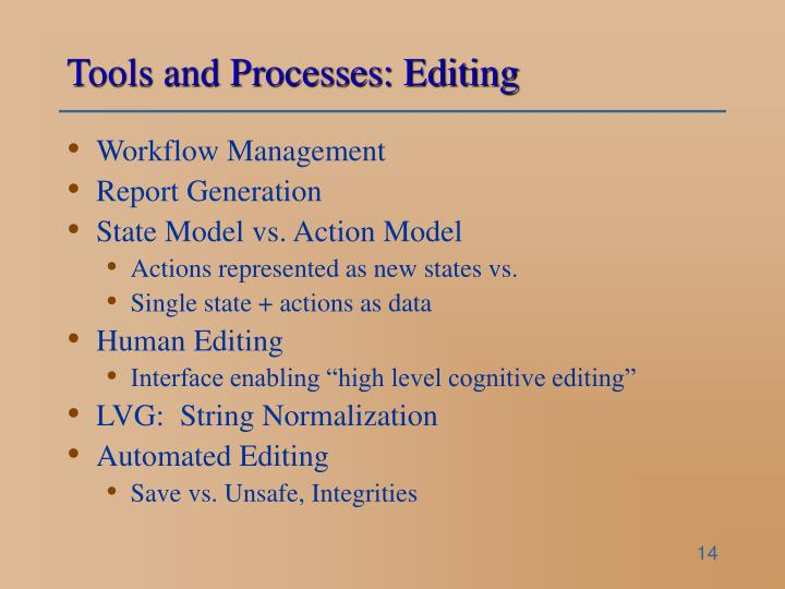 Tools and Processes: Editing