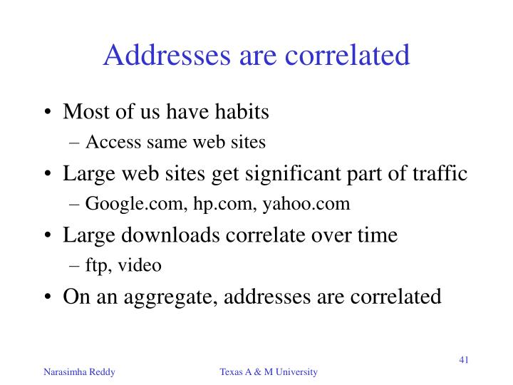 Addresses are correlated