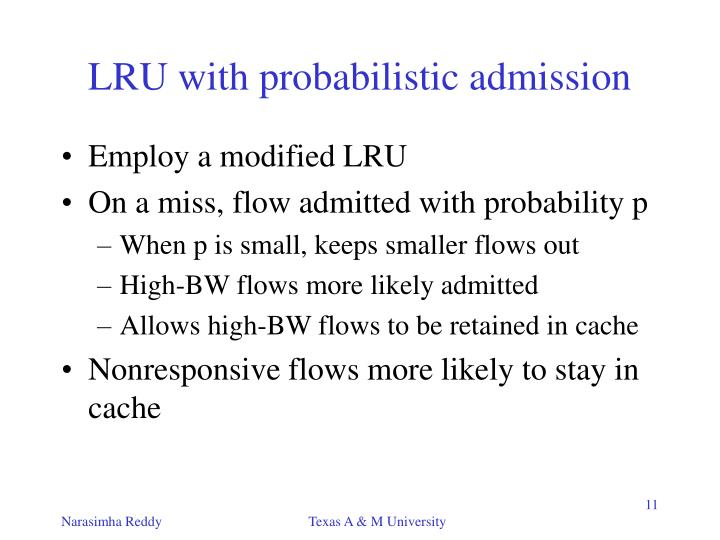 LRU with probabilistic admission