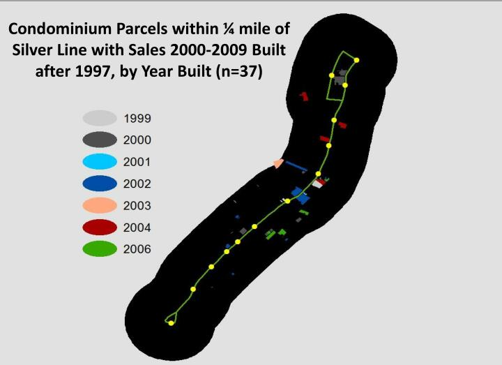 Condominium Parcels within ¼ mile of Silver Line with Sales 2000-2009 Built after 1997, by Year Built (n=37)