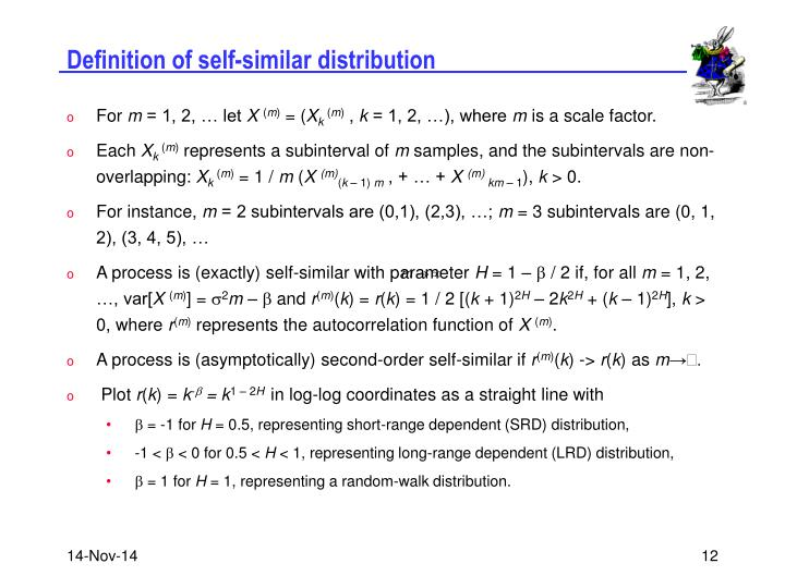 Definition of self-similar distribution