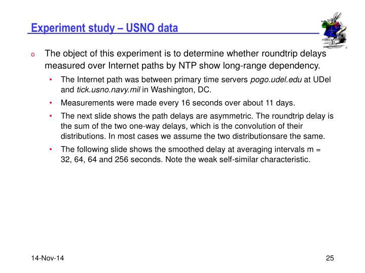 Experiment study – USNO data