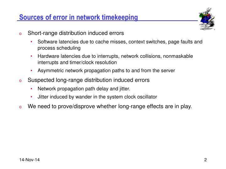 Sources of error in network timekeeping