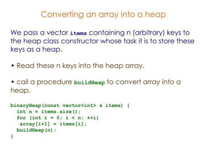 Converting an array into a heap