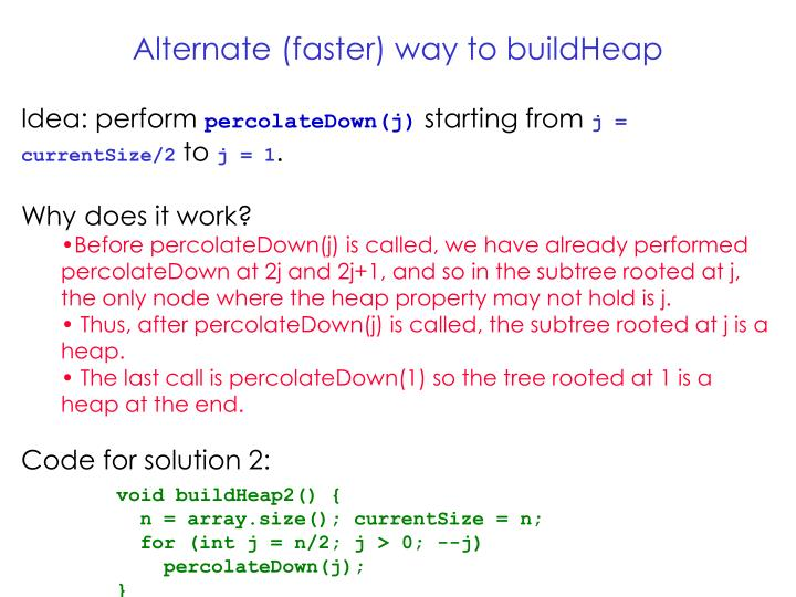 Alternate (faster) way to buildHeap
