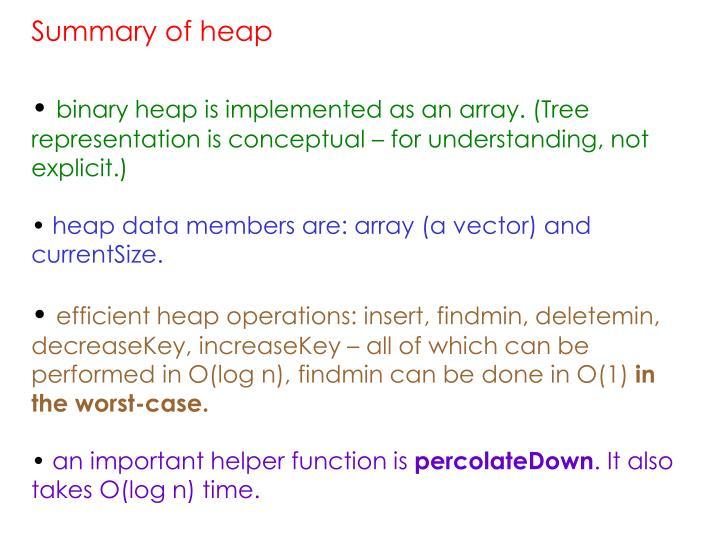 Summary of heap