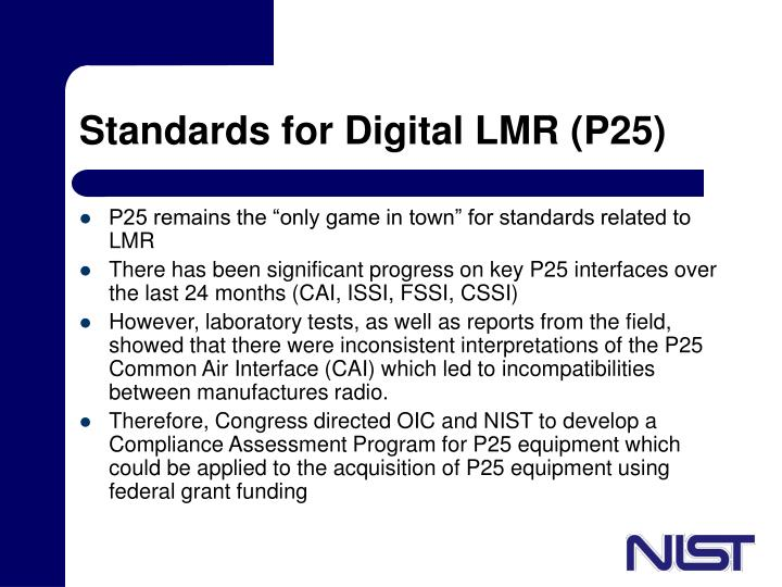 Standards for Digital LMR (P25)