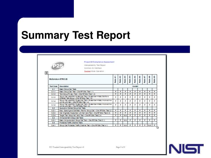 Summary Test Report