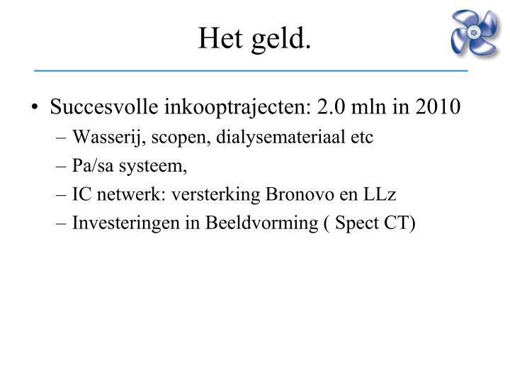 Succesvolle inkooptrajecten: 2.0 mln in 2010