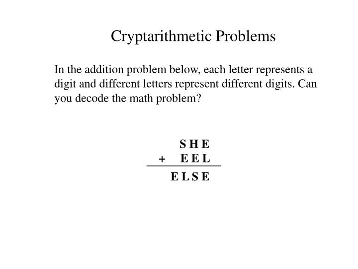 Cryptarithmetic Problems
