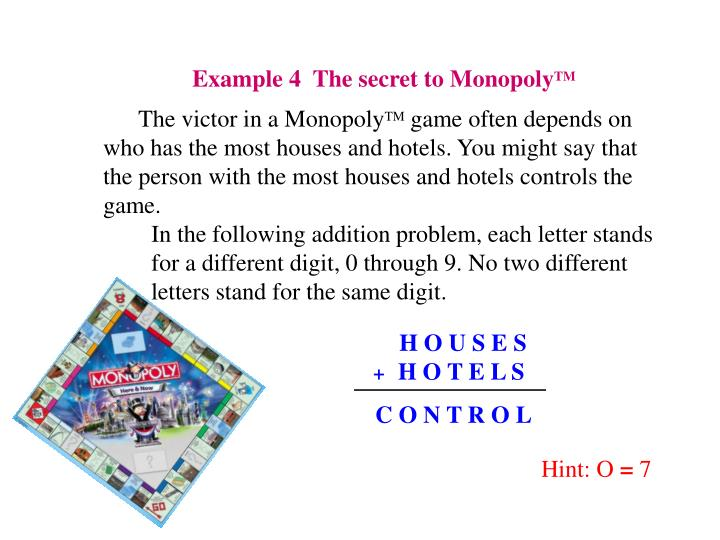 Example 4  The secret to Monopoly
