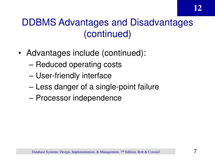 DDBMS Advantages and Disadvantages (continued)