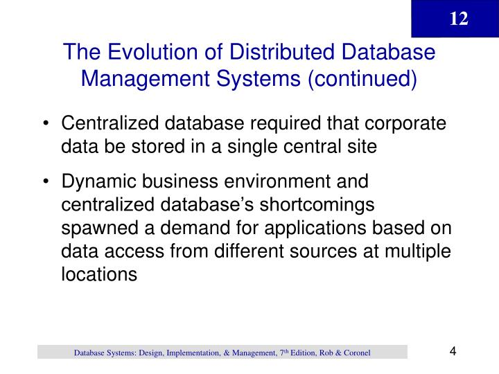 The Evolution of Distributed Database Management Systems (continued)
