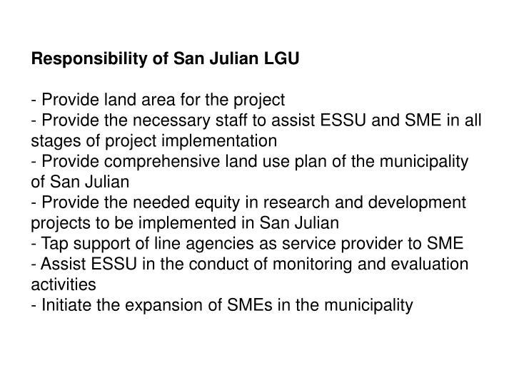 Responsibility of San Julian LGU