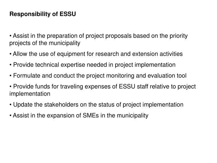 Responsibility of ESSU
