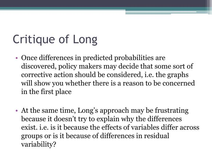 Critique of Long