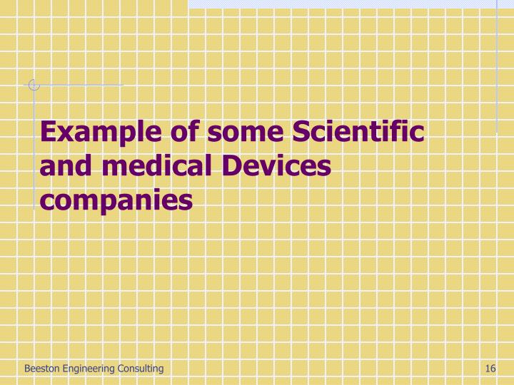 Example of some Scientific and medical Devices companies