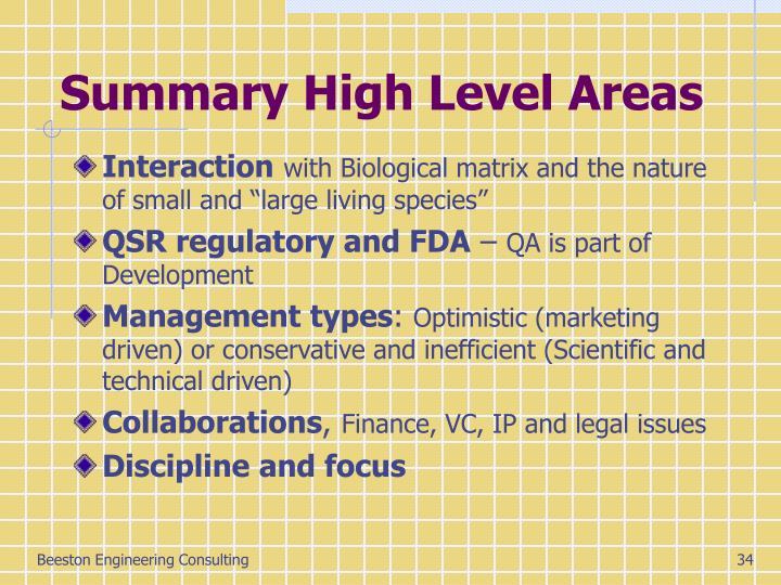 Summary High Level Areas