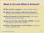 what is art and what is science