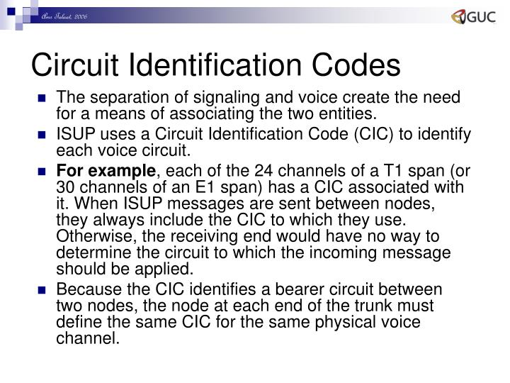 Circuit Identification Codes