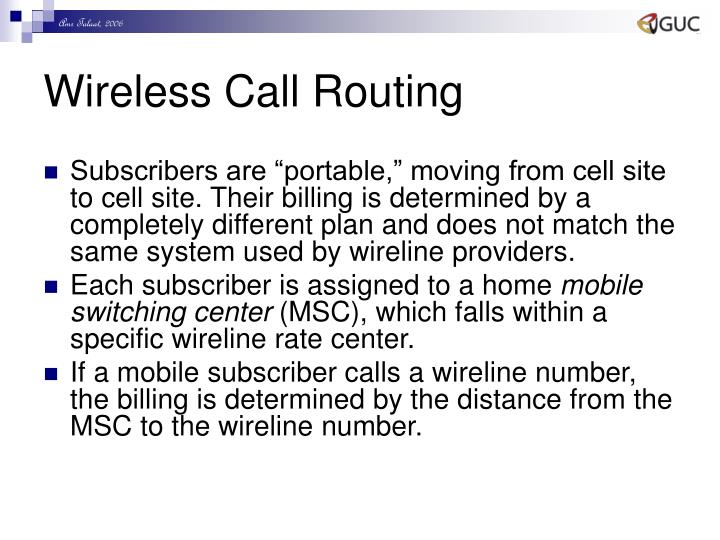 Wireless Call Routing