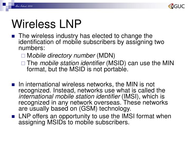 Wireless LNP