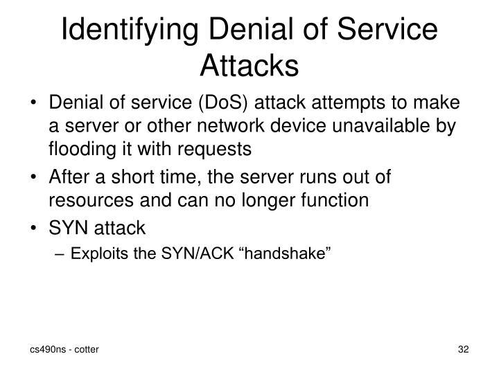 Identifying Denial of Service Attacks