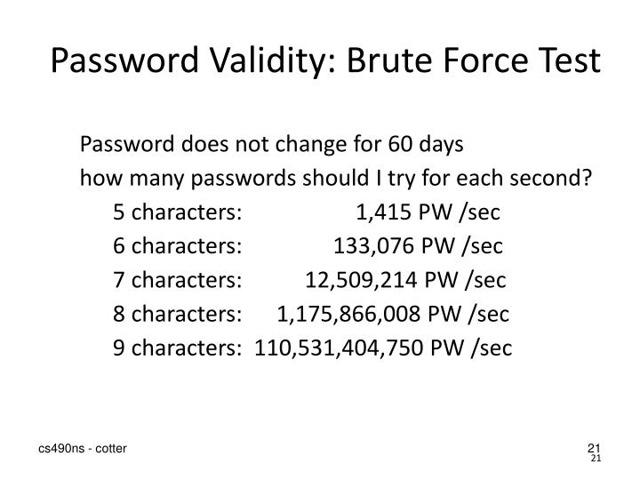 Password Validity: Brute Force Test