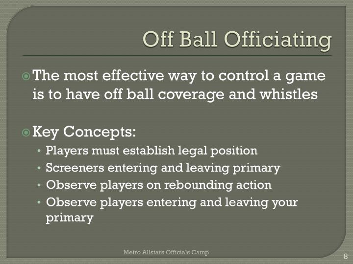 Off Ball Officiating