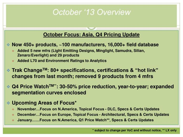 October '13 Overview