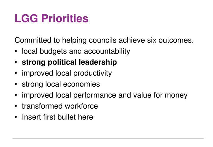 LGG Priorities