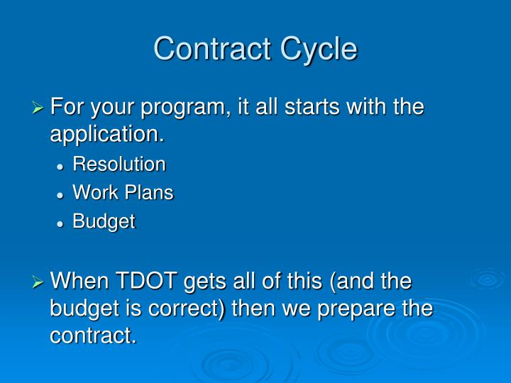 Contract cycle