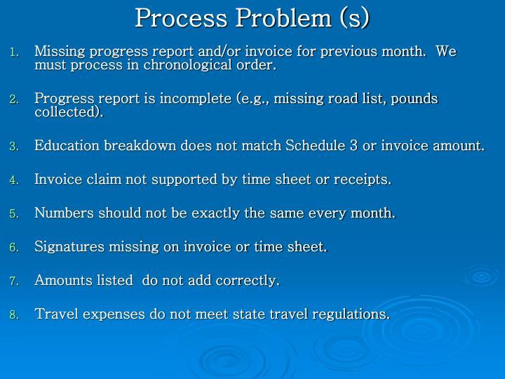 Process Problem (s)