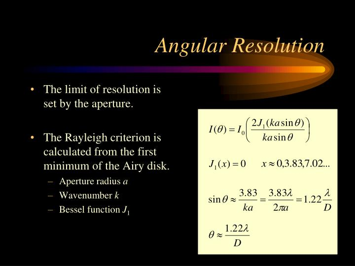 The limit of resolution is set by the aperture.
