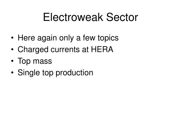 Electroweak Sector