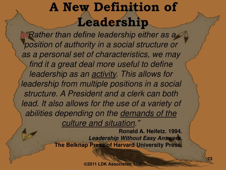 A New Definition of Leadership