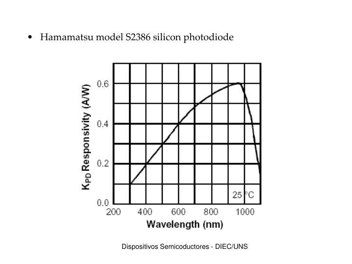 Hamamatsu model S2386 silicon photodiode