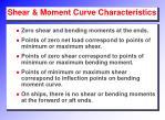 shear moment curve characteristics