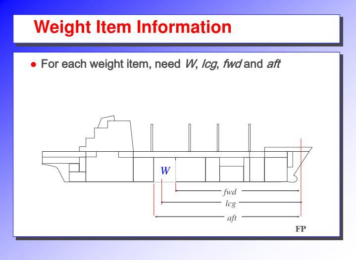 Weight Item Information