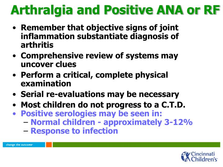 Arthralgia and Positive ANA or RF